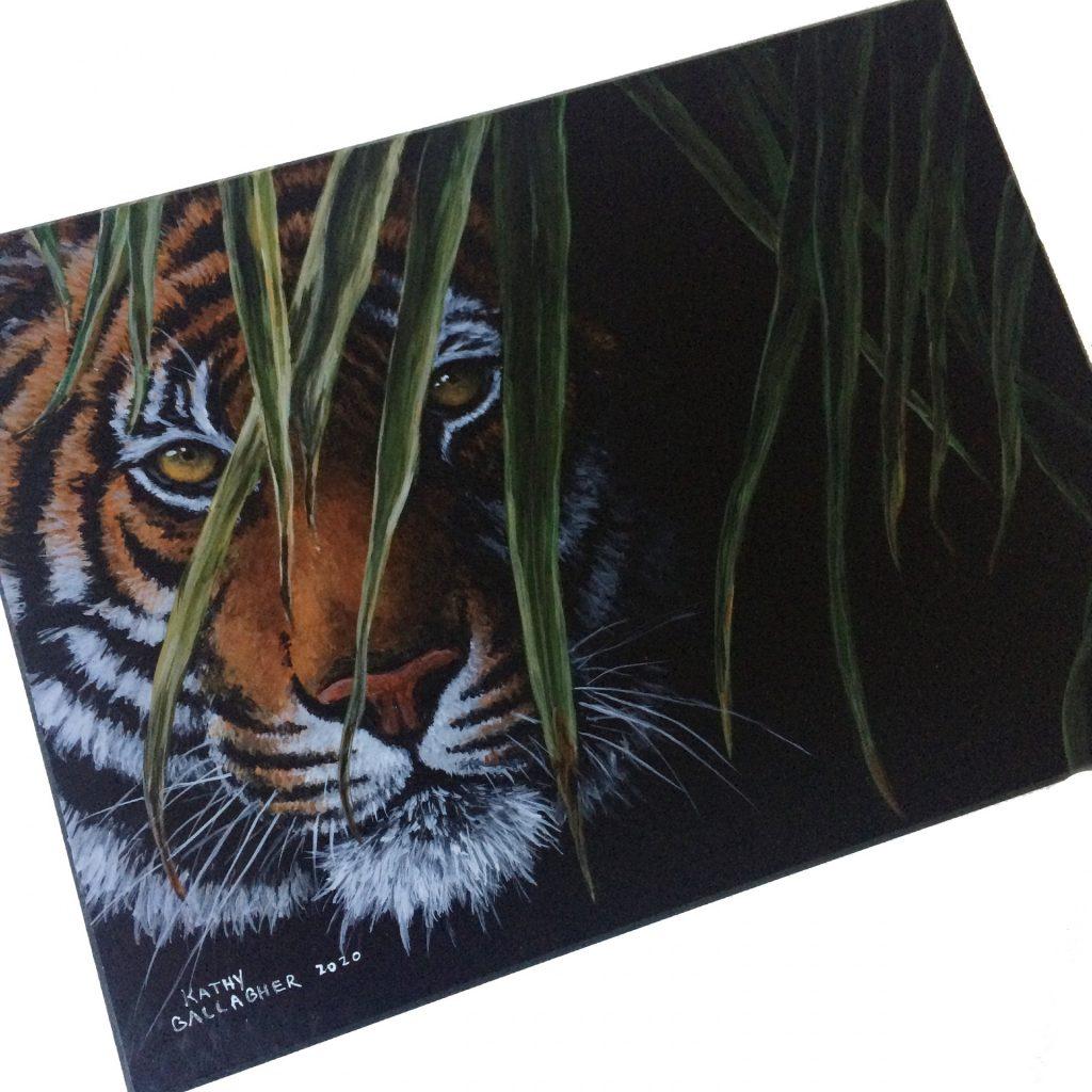 "Tiger in Leaves 9"" x 12"" board"