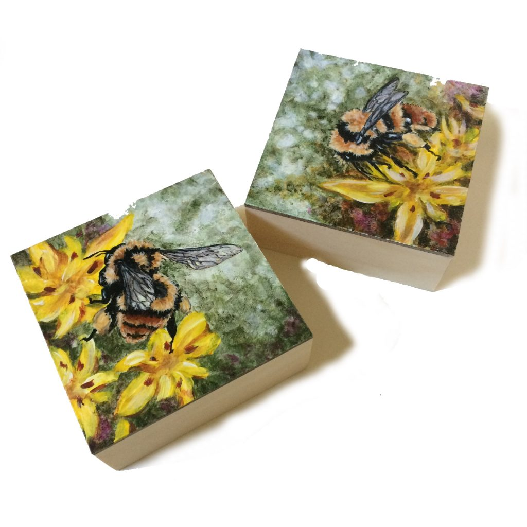 """Bumble Bees on 5"""" x 5"""" x 2"""" deep cradled board"""