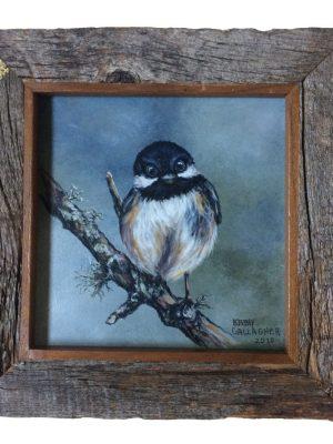 "Chickadee on panel in barn wood frame - 6"" x 6"""