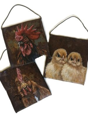 Crushed soup cans with chicken family