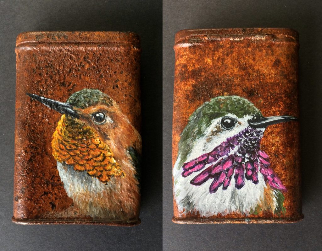Rusted tobacco can with hummingbirds, double sided