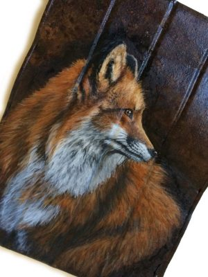 Crushed coffee can with fox