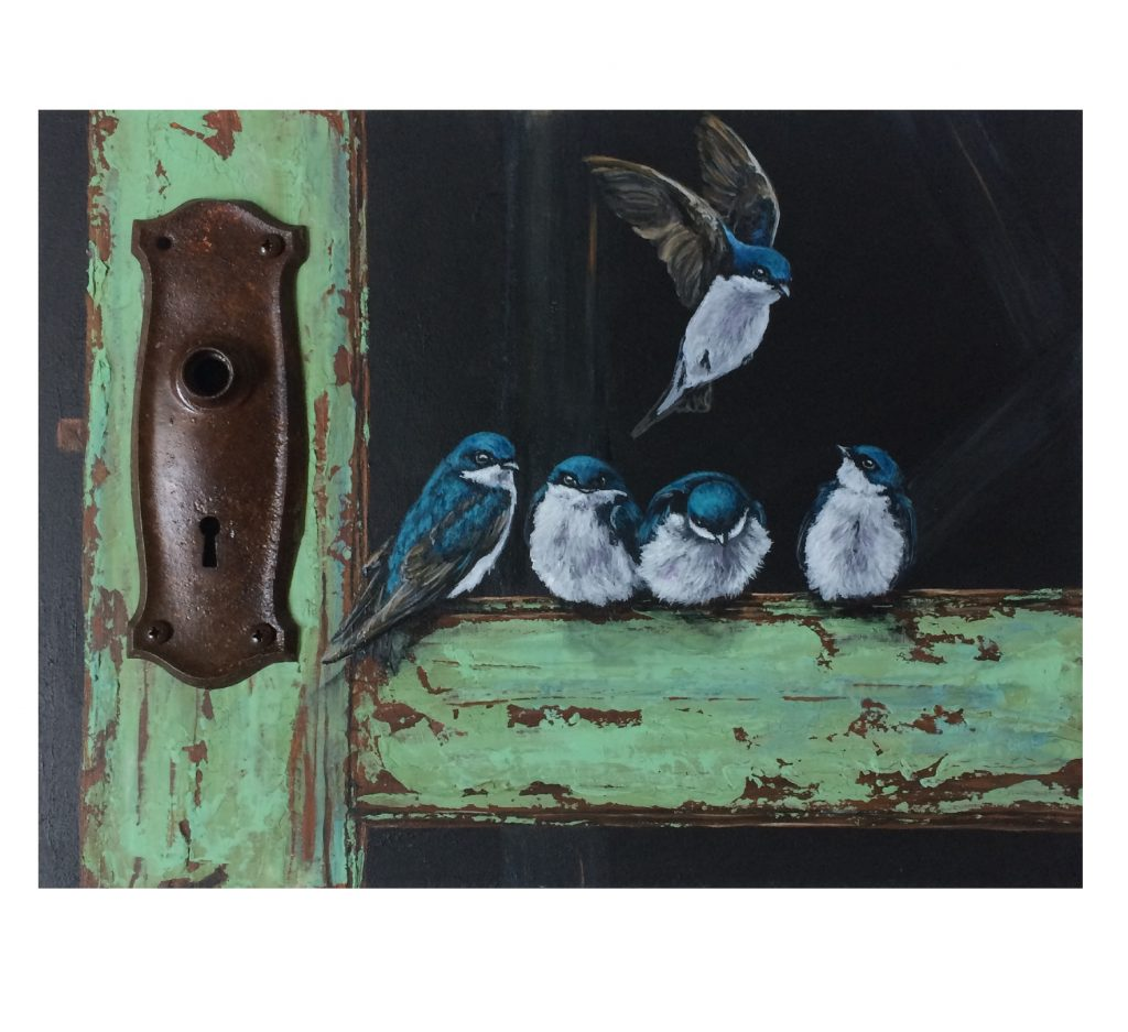 """Rusted door knob plate on acrylic painting of old door and swallows - 12"""" x 16"""" x 1"""" deep cradled board"""