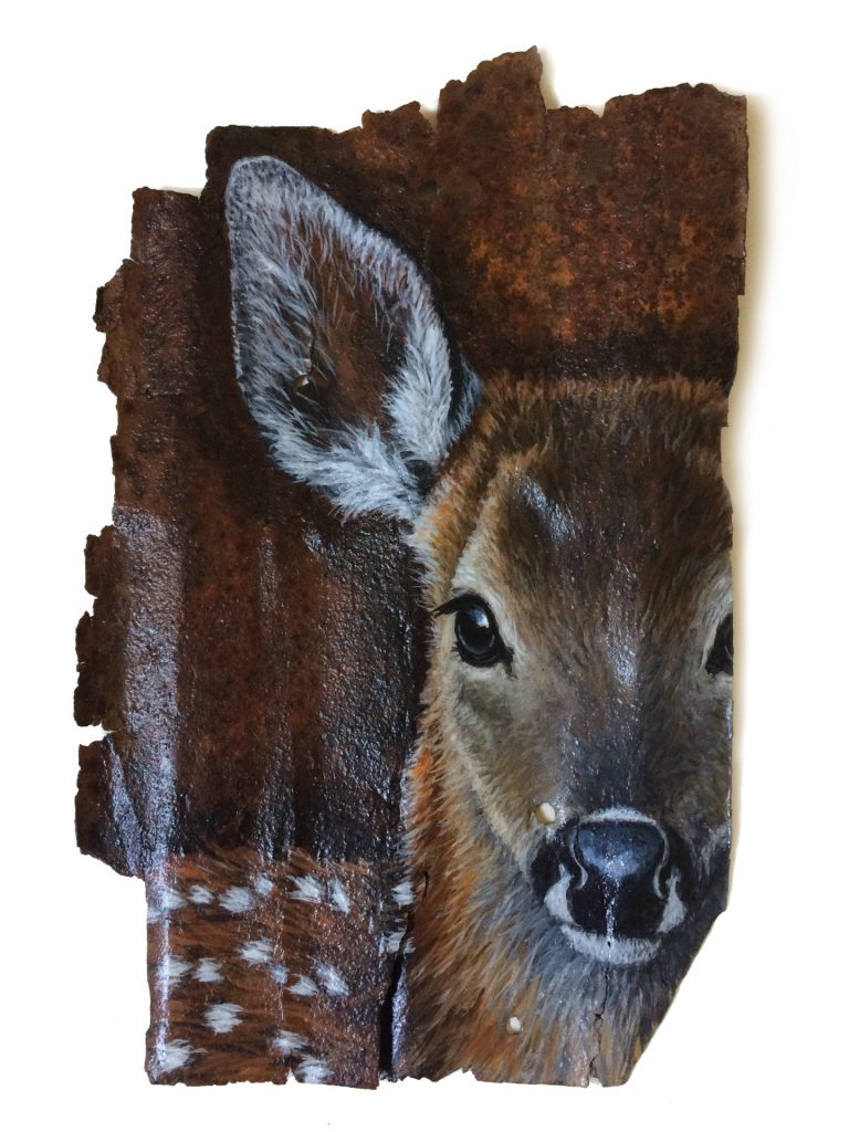 """Rusted metal with fawn - approximately 6"""" x 9.5"""""""