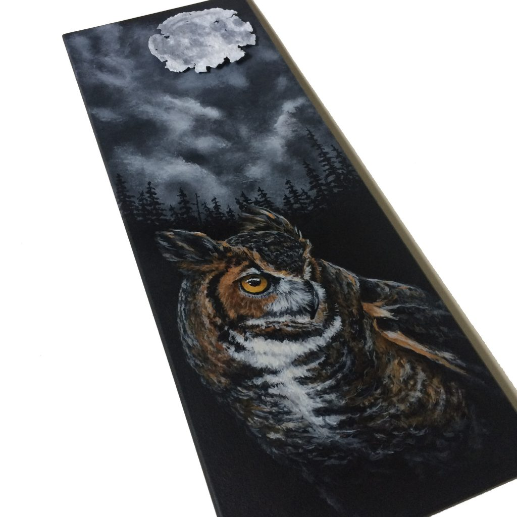 """Great horned owl at night with rusted can for moon - 7"""" x 19"""" board"""