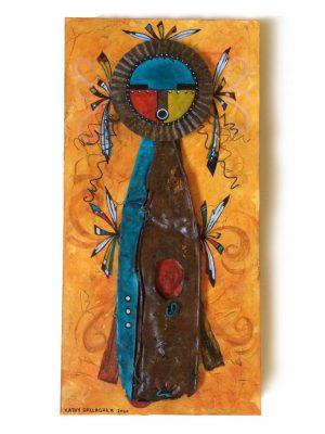 "Kachina doll on 10"" x 20"" x 2"" cradled board"