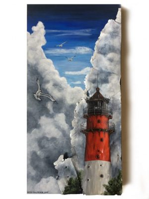 """Lighthouse with metal on 12"""" x 24"""" x 2"""" deep, black sides"""