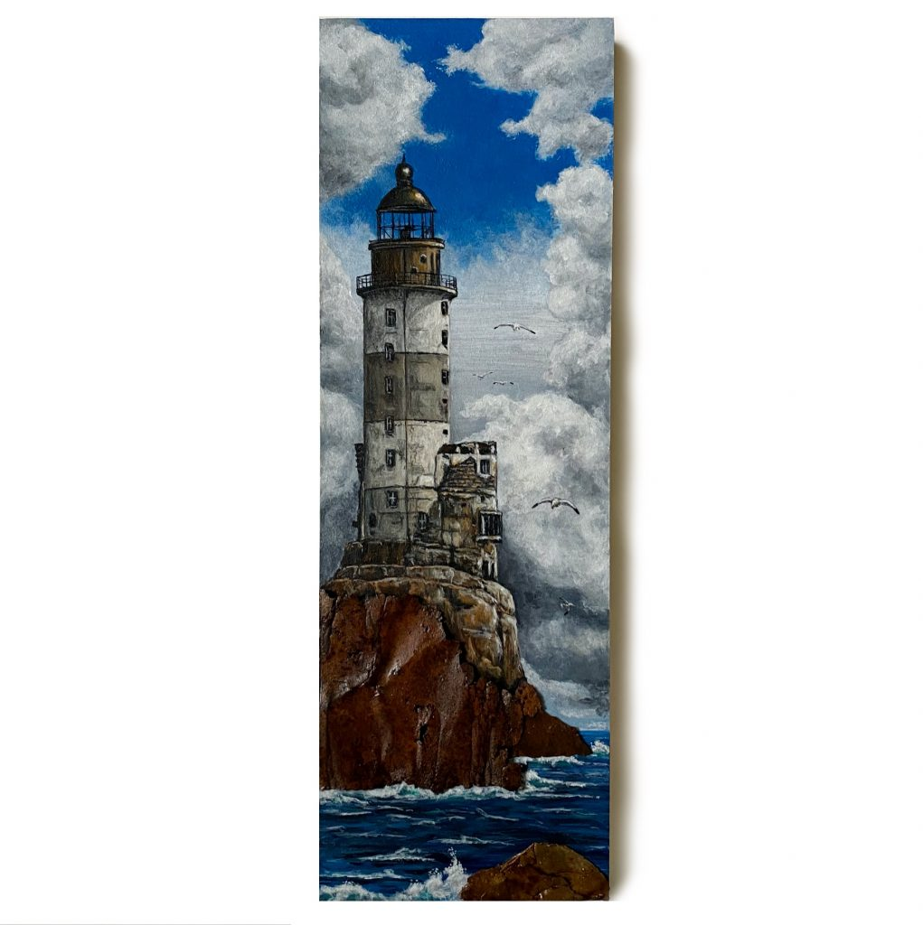 """""""The Aniva Lighthouse"""" on 6"""" x 18"""" cradled board"""