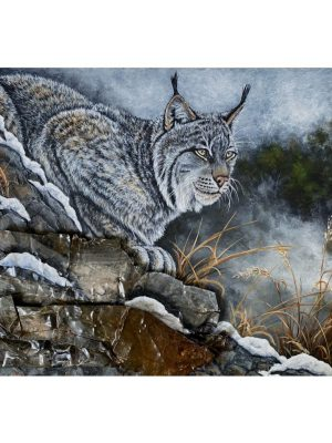 """Lynx with metal for rocks on 18"""" x 24"""" x 1.5"""" deep board with natural wood sides"""