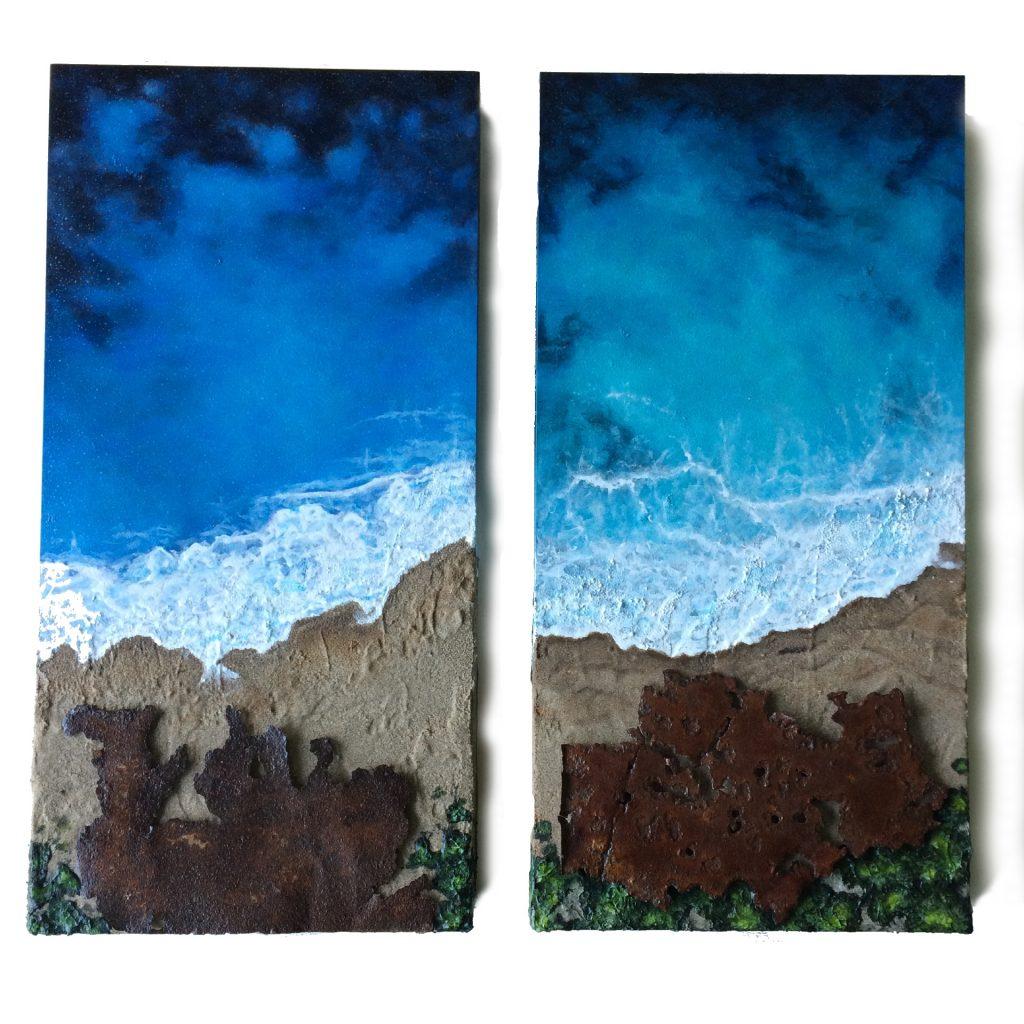 "Set of ocean areal views with metal as rocks - 10"" x 20"" x 2"" deep cradled boards"