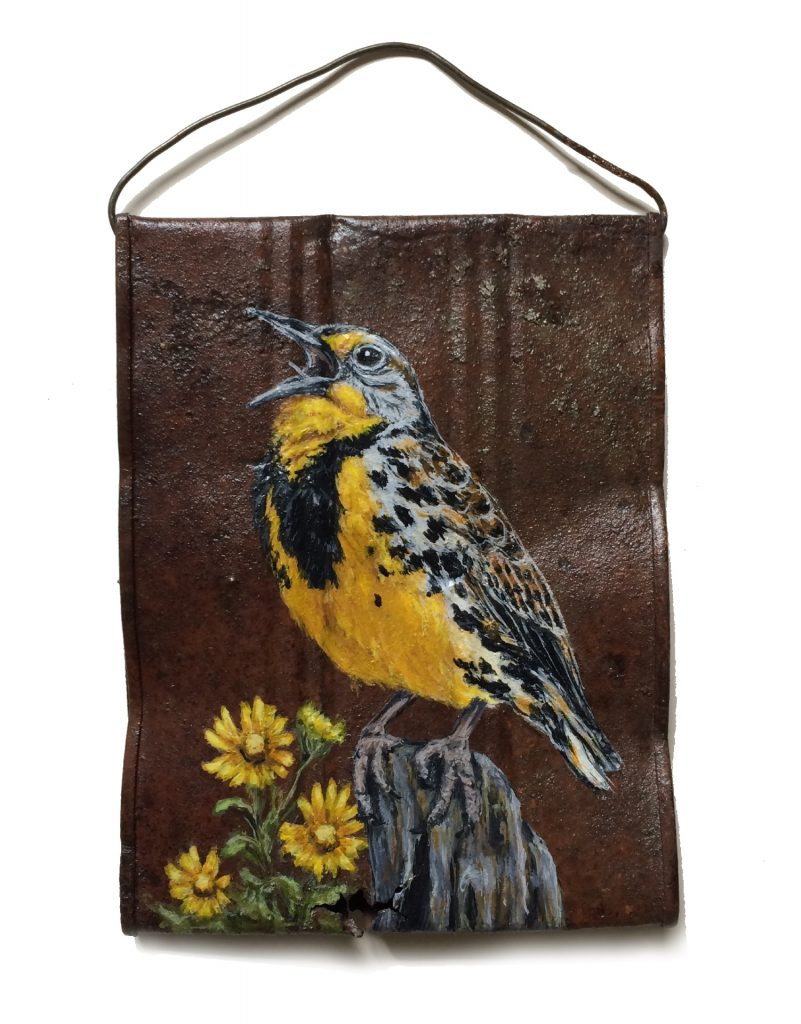 Crushed soup can with meadowlark