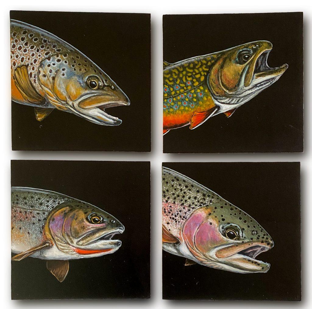 "Montana trout grand slam on 6"" x 6"" cradled panel"