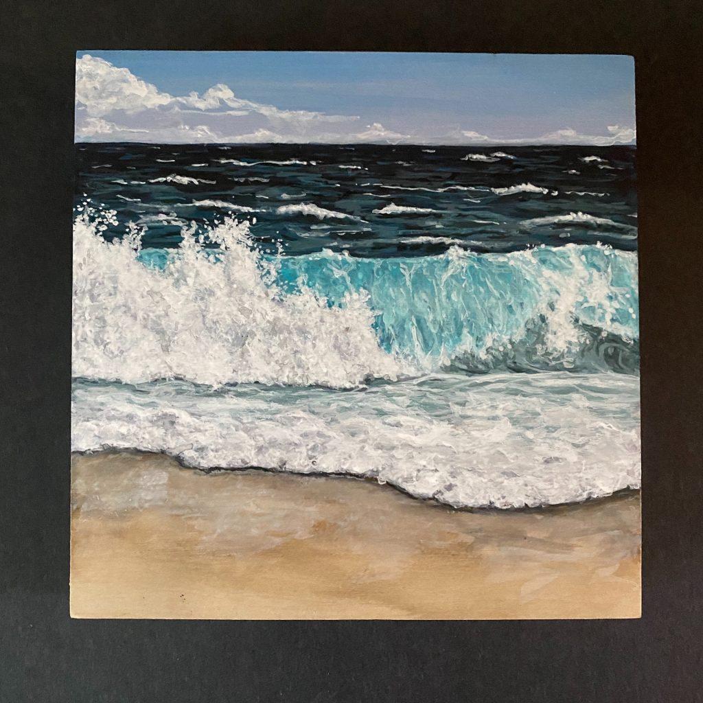 "Crashing ocean wave on 6"" x 6"" cradled panel"