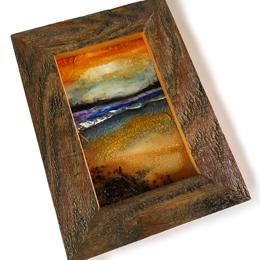 """Mixed media landscape on 4.5"""" x 7"""" panel in barn wood frame"""