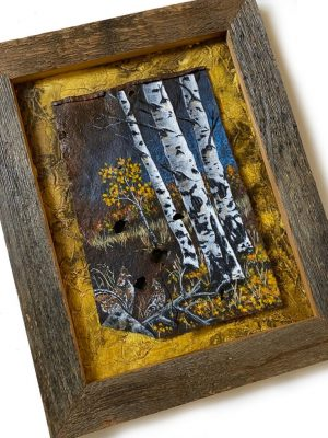 Aspens and grouse pair on metal mounted on textured panel in barn wood frame
