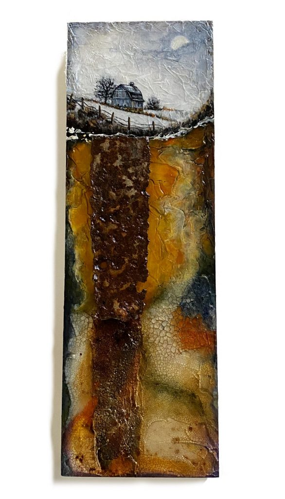 """Mixed media and metal on 6"""" x 18"""" cradled panel"""