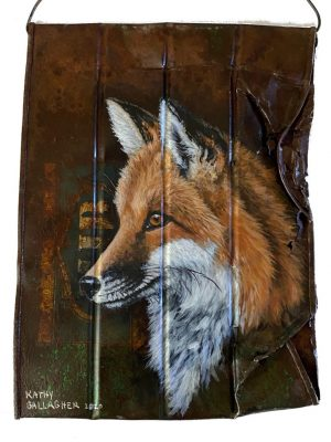 Fox on crushed coffee can
