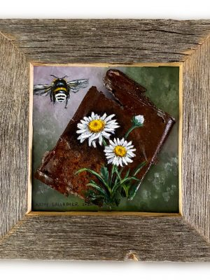 """Bumble bee and daisies on crushed tobacco can mounted on 6"""" x 6"""" board in barn wood frame"""