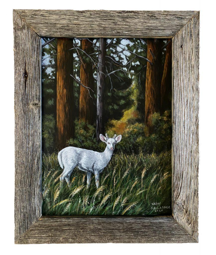 "Albino Deer in 9"" x 12"" Frame"