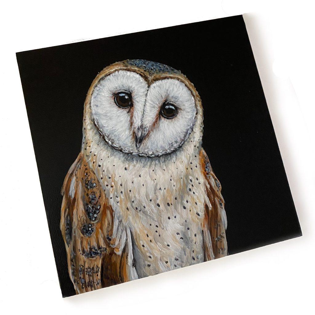 "Barn Owl on 6"" x 6"" cradled board"
