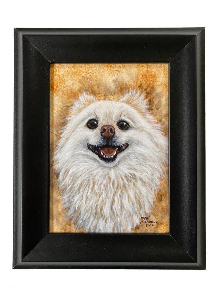 "Pet Portait - Acrylic on 5"" x 7"" board framed"