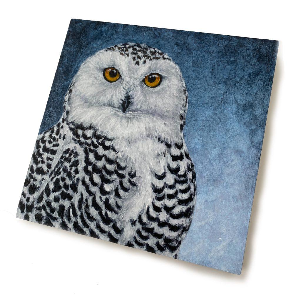 """Snowy Owl on 6"""" x 6"""" cradled board"""