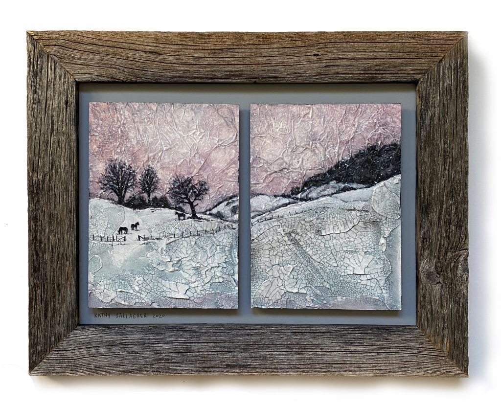 """Textured Winter Horse Scene Double Panel in 9"""" x 12"""" frame"""