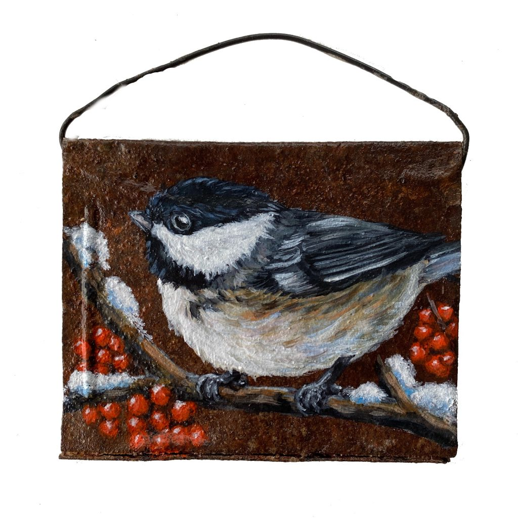 Winter Chickadee on Crushed  Can