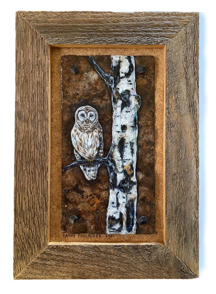 """Barred Owl and Aspen on Rusted Metal - Framed 6"""" x 10"""""""