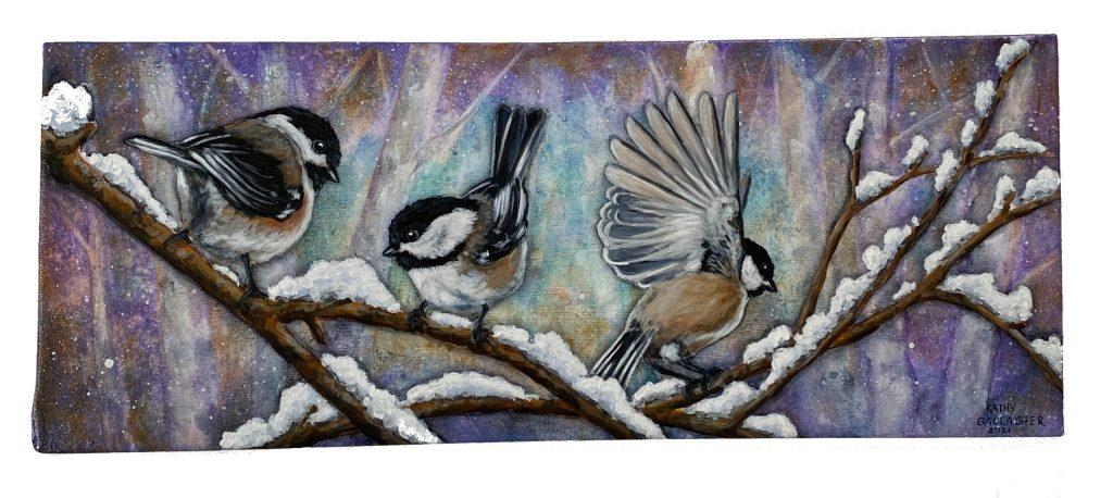 "Chickadees on Limbs in Winter - 6"" x 15.5"" Metal Panel"