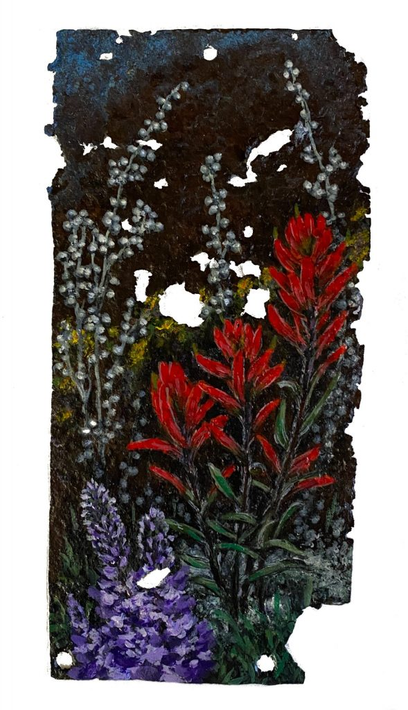 """Rusted Metal with Indian Paintbrush and Lupine - 5"""" x 10.25"""""""