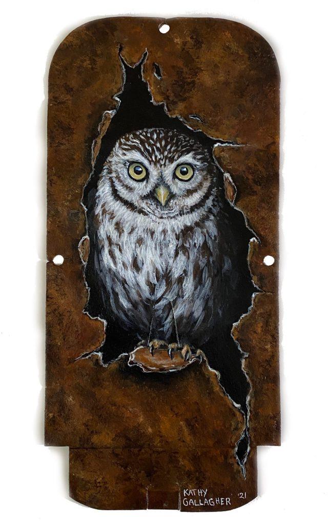 "Burrowing Owl on metal 5.5"" x 11.75"""