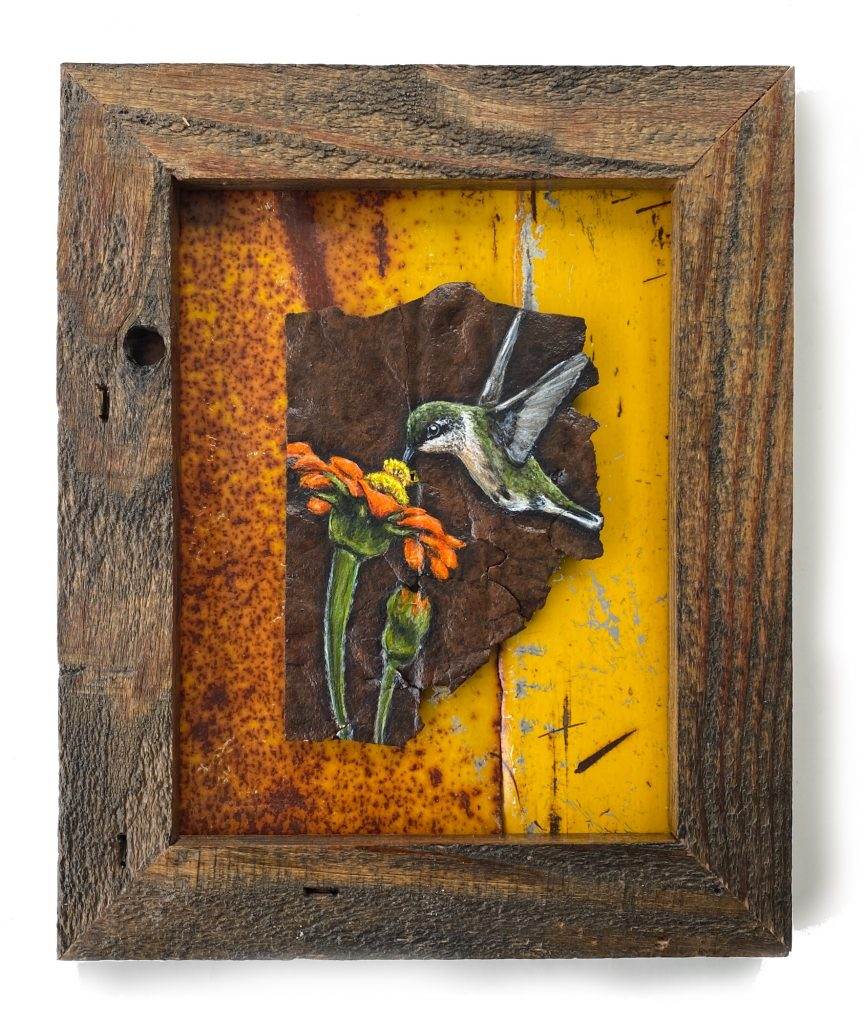 """Hummingbird with Flower on Rusted Metal Framed 9.5"""" x 11.5"""""""