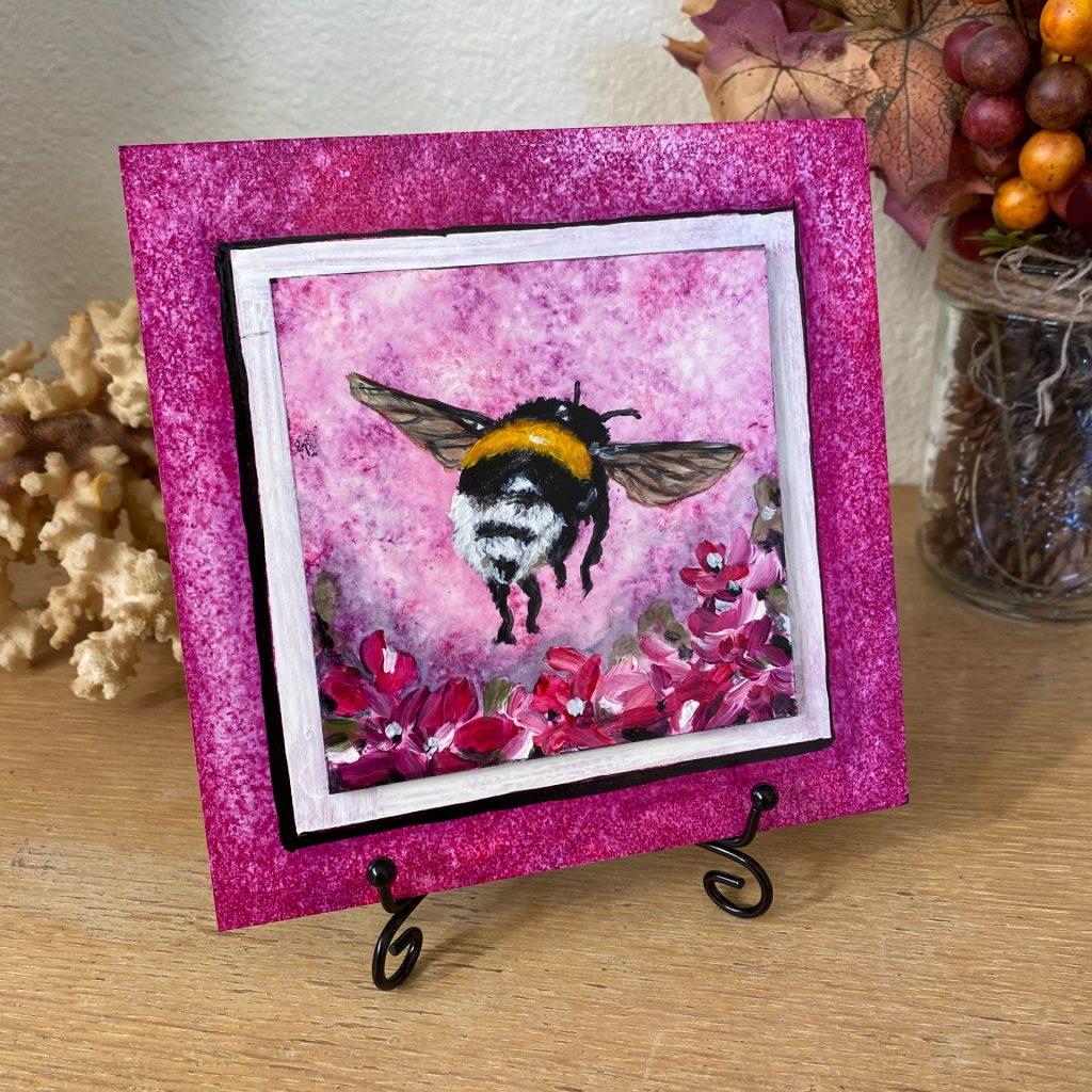 """Bumblebee Fuchsia on 6"""" x 6"""" board"""