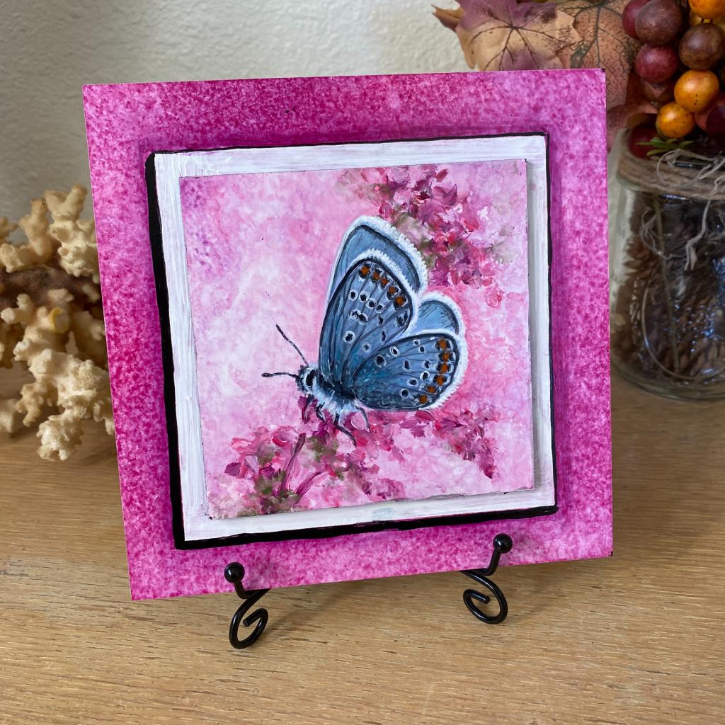 """Butterfly Fuchsia on 6"""" x 6"""" board"""